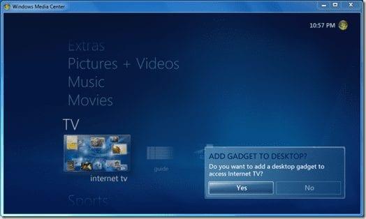 интернет телевидение в Windows Media Center