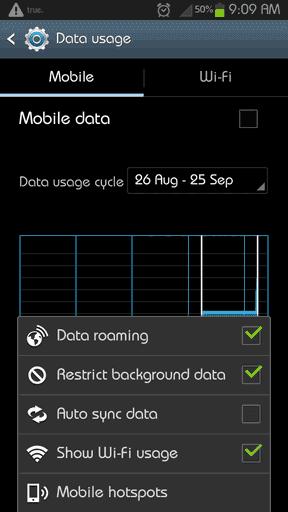 Ограничение передачи данных Android
