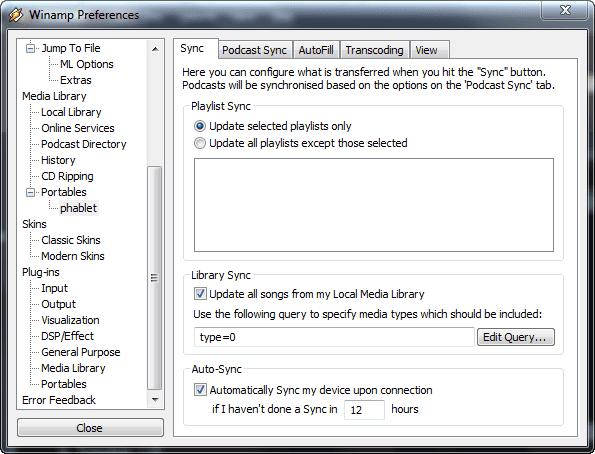 настройки в приложении Winamp