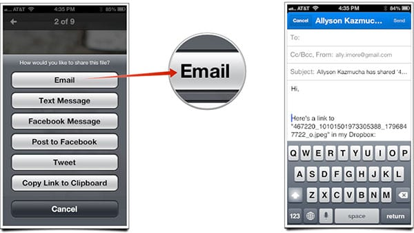 Отправка ссылки на файл в Dropbox на iOS