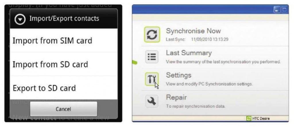 Импортирование контактов Android