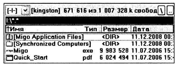 Состояние ПО Migo Personal 3.0.6.102 мобильного накопителя Kingston после приема почтовых данных на гостевом ПК и их передачи на основной ПК