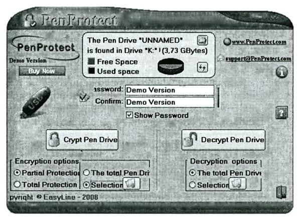 Главное окно программы PenProtect