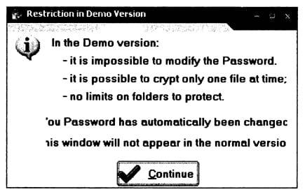 Ограничения демонстрационной версии программы PenProtect