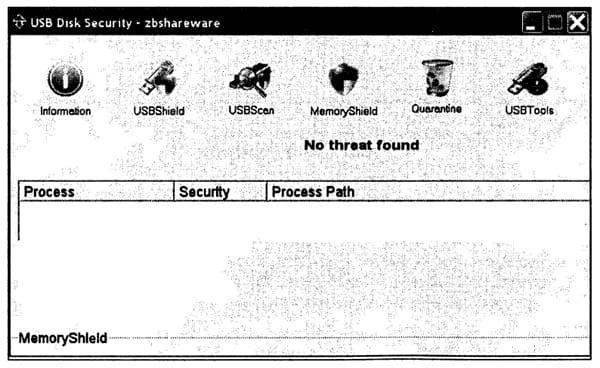 Вид окна управления программой USB Disk Security для опции MemoryShield.
