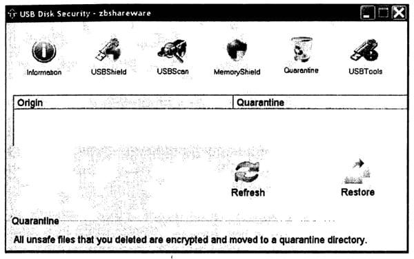 Вид окна управления программой USB Disk Security для опции Quarantine