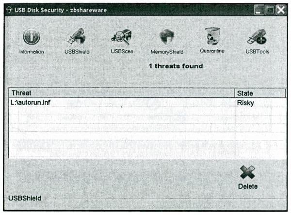 Вид окна управления программой USB Disk Security для опции USBShield