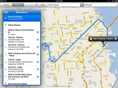 Маршрут до пункта назначения на iPad