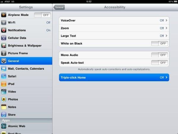 Accessibilty (Универсальный доступ) на iPad