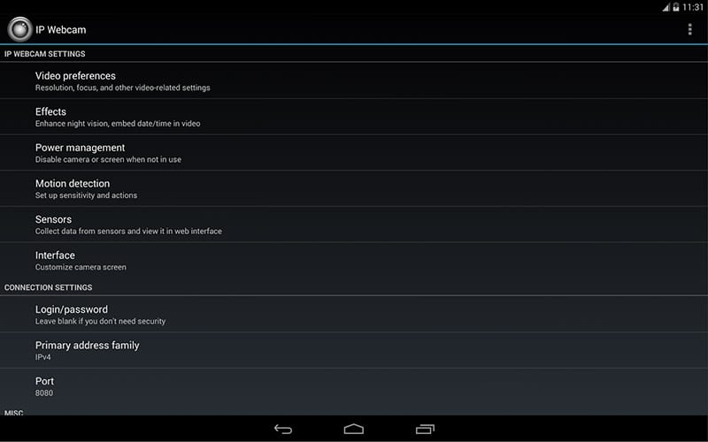 приложение IP Webcam на Android